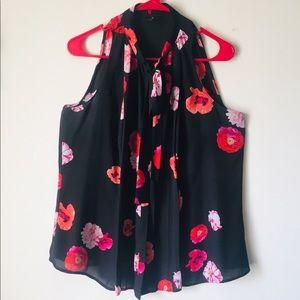 Floral Sleeveless Worthington Tie Blouse
